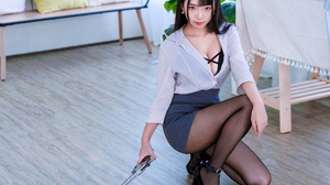 Asian Model Women Women Indoors Long Hair Dark Hair Ning Shioulin Black High Heels Gun Nylons Skirt  3840x2880 Wallpaper