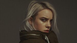 Billie Eilish Gray Background Silver Hair Minimalism Simple Annoyed Noise Brown Coat 5368x3020 Wallpaper