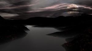 Nature Space Nebula Moon Moonlight Lake River Mountain Bluebird 7680x4320 Wallpaper