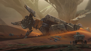 Artwork Digital Art Spaceship Astronaut Desert Rocks Landscape 1920x1022 Wallpaper
