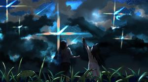 Anime Boy Cloud Girl Original Anime Sky Stars 2923x2080 Wallpaper
