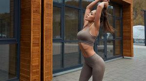 Women Ribs Sportswear Brunette Women Outdoors Ponytail Hands In Hair Armpits 2500x1667 Wallpaper