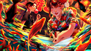 Anime Anime Girls Kimono Japanese Kimono Fish Red Nails Flower In Hair Night Lanterns Colorful 1680x1200 Wallpaper