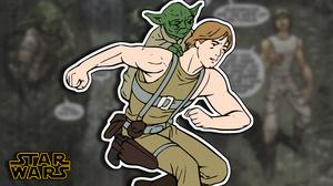 Star Wars Dagobah Luke Skywalker Yoda Comic Books Stickers 3840x2160 Wallpaper