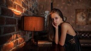 Yuriy Lyamin Women Women Indoors Brunette Black Clothing Blue Eyes Looking At Viewer Model Bare Shou 2560x1440 Wallpaper