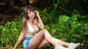Asian Model Women Long Hair Brunette Bushes Sitting Sneakers Short Tops Depth Of Field 2760x1840 Wallpaper