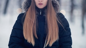 Brunette Model Women Wool Cap Black Jackets Winter Portrait Black Gloves Gloves Straight Hair Purse  899x1350 Wallpaper