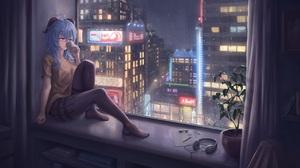 Anime Anime Girls By The Window Ganyu Genshin Impact Genshin Impact Horns Blue Hair Window Cup 3840x2160 wallpaper
