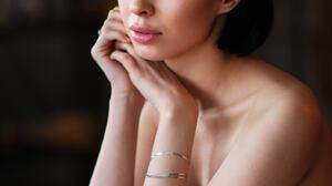 Maxim Maximov Women Dark Hair Short Hair Bangs Looking At Viewer Bare Shoulders Dress Black Clothing 1408x2048 wallpaper
