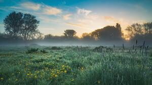 England Landscape Field Sunrise Mist 5293x3308 Wallpaper