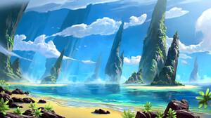 David Frasheski Digital Art Landscape Shore Beach Rock Formation Clouds Birds 3840x2138 Wallpaper