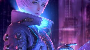Huifeng Huan CGi Women Androids Short Hair Purple Hair Bangs Blue Eyes Jacket Neon Glow Cyberpunk 3072x3072 Wallpaper