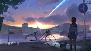 Anime Anime Girls Women Outdoors Urban Sky Standing Vehicle Bicycle City Sun Sign School Uniform Art 1920x1080 Wallpaper