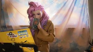 Seraphine League Of Legends Girl Pink Hair Blue Eyes 1920x1080 Wallpaper