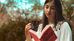 Model Women Red Lipstick White Dress Reading Women Outdoors Coffee Cup 2880x1800 Wallpaper