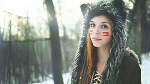 Women Redhead Nose Ring Hoods Face Paint Dreadlocks 2048x1360 Wallpaper