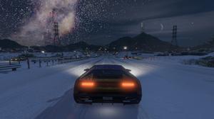 Grand Theft Auto V Snow Lamborghini Milky Way Highway Night Sky Space 3840x2160 wallpaper