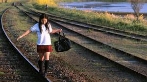Women Actress Singer Women Outdoors Japanese Women Asian Railway Long Hair 1437x993 Wallpaper