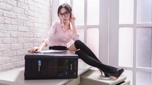 Asian Model Women Long Hair Brunette Ponytail Glasses Pink Shirt Black Skirts Black Heels Sitting De 1920x1279 Wallpaper