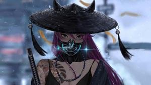 Samurai Warrior Women Katana Sword Hat Mask Purple Hair Tattoo Fantasy Art Fantasy Girl Artwork Digi 3000x2000 Wallpaper