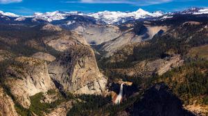 Landscape Mountain Panorama Waterfall 2048x1369 wallpaper
