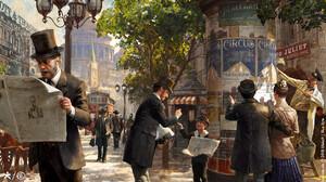 Digital Art Artwork Painting Victorian People Street Tram Newspapers Reading Men Women Children Buil 1920x1079 Wallpaper