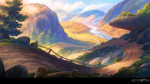 Landscape Digital Art Artwork Road River Trees Mountains 1920x1060 Wallpaper