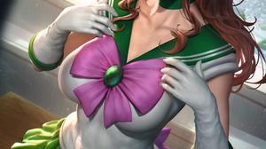 Sailor Jupiter Sailor Moon Anime Anime Girls Brunette Ponytail Bangs Green Eyes Looking At Viewer Pa 2400x3597 Wallpaper