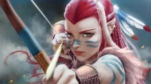 Archer Arrow Bow Girl Orange Eyes Pink Hair Woman Warrior 1920x1220 Wallpaper