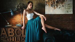 Women Sergey Fat Sitting Wall Bricks Brunette White Tops Blue Skirt Barefoot Women Indoors Aleksandr 1920x1080 Wallpaper