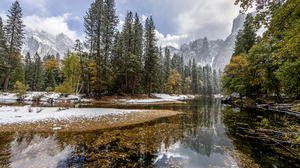 Mountain Nature Reflection River Tree Winter 5184x3456 Wallpaper