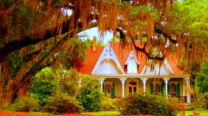 Colorful Fall House Porch Tree Victorian 2414x1224 Wallpaper
