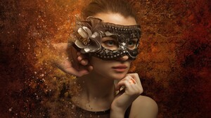 Girl Mask Woman 2880x1800 wallpaper
