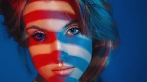Grigoriy Lifin Model Women Blue Eyes Brunette Face Mouth Lips Lipstick Closeup Simple Background Loo 1920x1280 Wallpaper