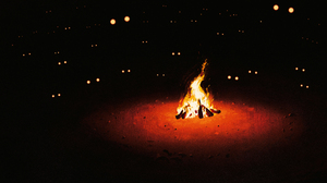 Illustration Fire Burning Fireplace Eyes Simple Background Black Background Artwork 3840x2160 Wallpaper