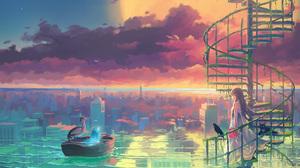 Anime Anime Girls Vofan Artwork Cityscape Sky Stairs Birds Cats Flowers Brunette Dress 2048x1365 Wallpaper