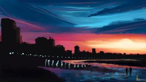 Cityscape Ocean Sunset Couple 1920x1080 Wallpaper