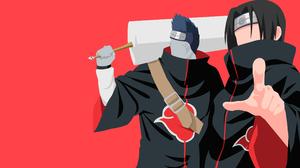 Itachi Uchiha Uchiha Clan Kisame Hoshigaki Akatsuki Naruto Red Minimalist Ninja Black Hair Blue Hair 3840x2160 wallpaper