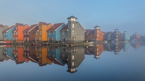 Outdoors House Building Mist Water Reflection 3840x2160 Wallpaper