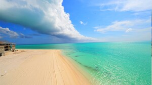 Ocean Sea Turquoise Tropical Cloud Horizon Sand 3000x1996 Wallpaper