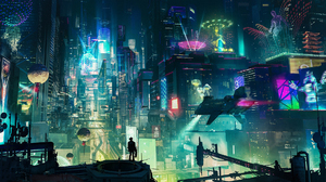 City Cyberpunk Cityscape Light Night People 1920x1080 Wallpaper