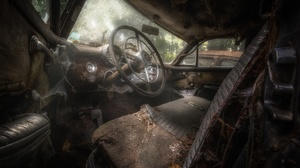 Car Car Interior Vehicle Old Steering Wheel Wreck 2048x1365 Wallpaper