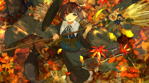 Anime Anime Girls Digital Art Artwork 2D Portrait Qooo003 Fall Cats Witch Witches Broom 3541x2508 Wallpaper