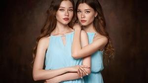 Blue Eyes Girl Long Hair Redhead Twins Woman 2000x1499 Wallpaper