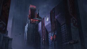 City Futuristic Cyberpunk Skyscraper USSR Russia 2560x1304 Wallpaper