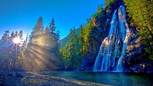 Earth Sun Sunrise Sunshine Waterfall 1920x1080 Wallpaper