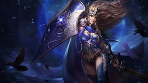 Girl Raven Shield Sword Woman Woman Warrior 2560x1483 Wallpaper