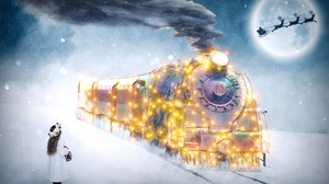 Child Christmas Moon Santa Train 3000x2000 Wallpaper
