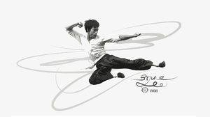 Bruce Lee Jump Kung Fu Artistic Black Amp White 2000x1125 Wallpaper