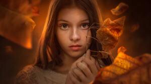 Jessica Drossin Women Brunette Long Hair Brown Eyes Looking At Viewer Portrait Fall Leaves 1800x1200 Wallpaper